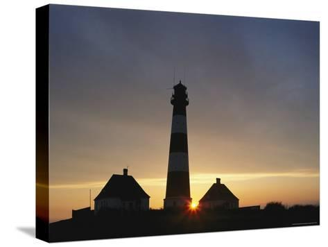 Lighthouse at Westerhever, Wattenmeer National Park, Germany-Norbert Rosing-Stretched Canvas Print