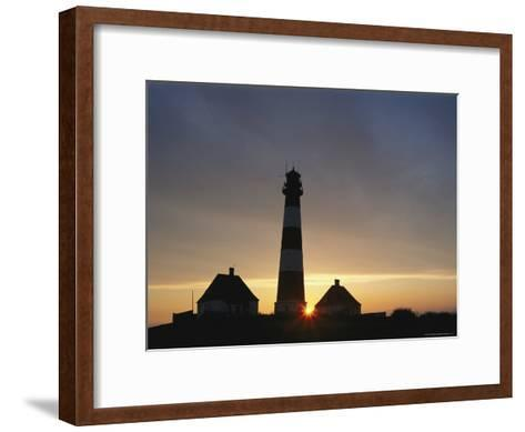 Lighthouse at Westerhever, Wattenmeer National Park, Germany-Norbert Rosing-Framed Art Print