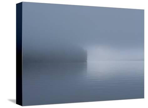 Thick Fog Hangs Over Eerily Calm Water Where a Point of Land Juts Out-Bill Curtsinger-Stretched Canvas Print