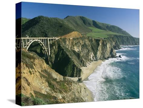 The Beach and Shoreline Along Highway 1 Near Bixby Bridge-Phil Schermeister-Stretched Canvas Print