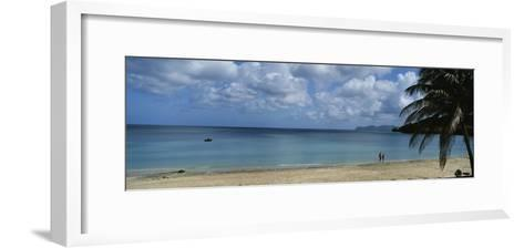 Beach with Couple in Distance, Belize-Barry Tessman-Framed Art Print