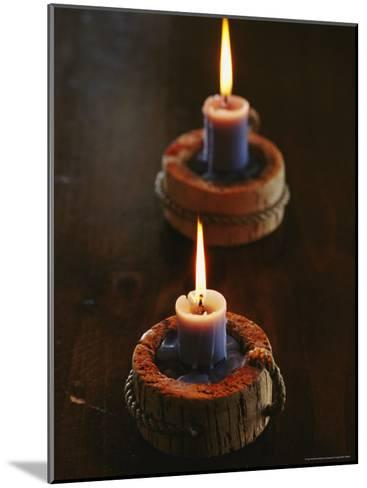 Two Candles in Rustic Candlesticks-Vlad Kharitonov-Mounted Photographic Print
