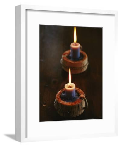 Two Candles in Rustic Candlesticks-Vlad Kharitonov-Framed Art Print