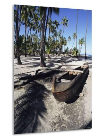 An Outrigger Canoe Rests on a Beach-Heather Perry-Metal Print