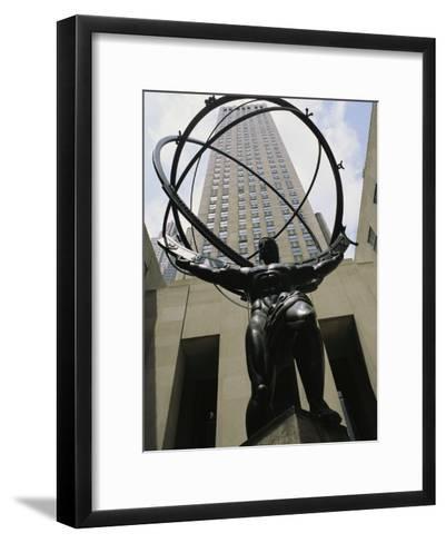 Statue of Atlas in Rockefeller Center-Todd Gipstein-Framed Art Print