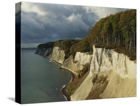 White Chalk Cliffs Along the Shoreline-Norbert Rosing-Stretched Canvas Print