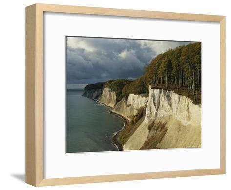 White Chalk Cliffs Along the Shoreline-Norbert Rosing-Framed Art Print
