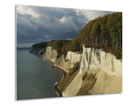 White Chalk Cliffs Along the Shoreline-Norbert Rosing-Metal Print