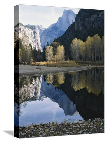 Half Dome Mountain is Reflected in the Merced River-Marc Moritsch-Stretched Canvas Print
