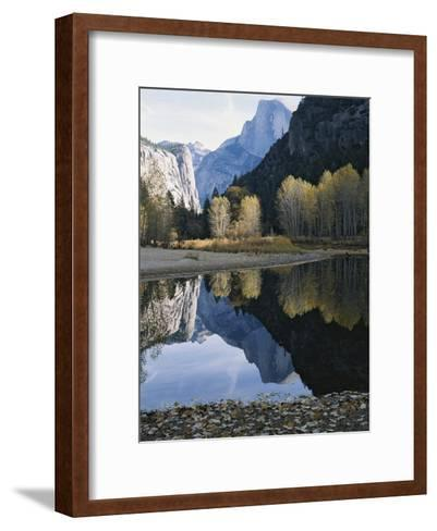 Half Dome Mountain is Reflected in the Merced River-Marc Moritsch-Framed Art Print