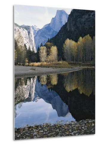 Half Dome Mountain is Reflected in the Merced River-Marc Moritsch-Metal Print
