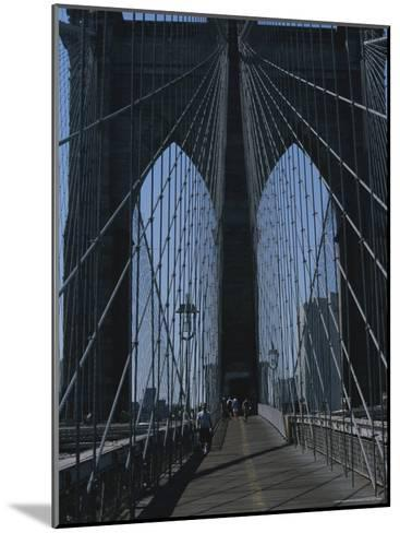 Lattice-Like Cables Rise Above Pedestrians on the Brooklyn Bridge-Todd Gipstein-Mounted Photographic Print