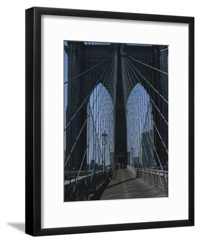 Lattice-Like Cables Rise Above Pedestrians on the Brooklyn Bridge-Todd Gipstein-Framed Art Print