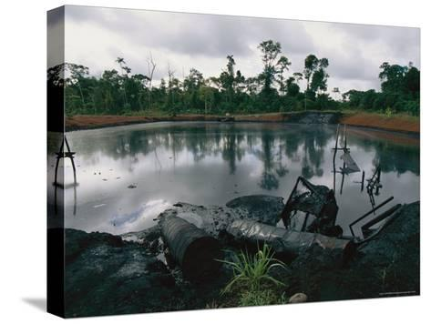 Pond of Waste Oil, and Drums-Steve Winter-Stretched Canvas Print