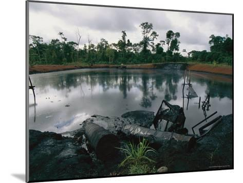Pond of Waste Oil, and Drums-Steve Winter-Mounted Photographic Print