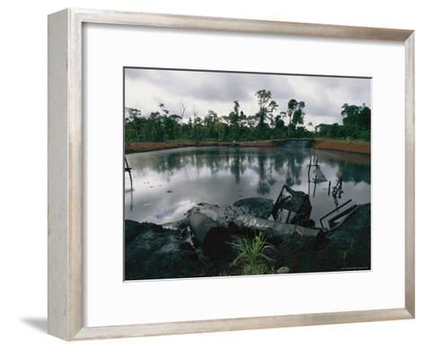 Pond of Waste Oil, and Drums-Steve Winter-Framed Art Print