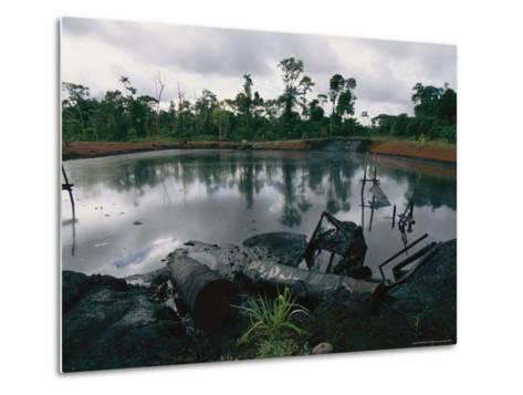 Pond of Waste Oil, and Drums-Steve Winter-Metal Print