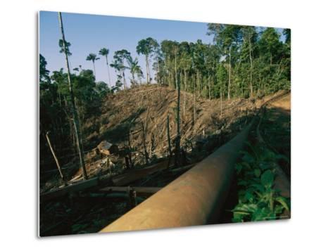 Oil Pipeline Running Through Amazon Basin Forests-Steve Winter-Metal Print