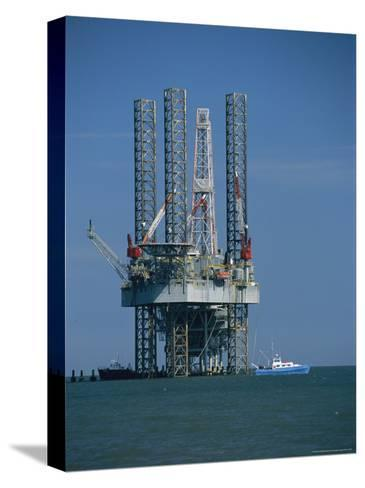 Oil Rig Under Construction-Raymond Gehman-Stretched Canvas Print