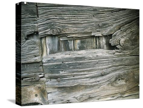 Close View of Wood Barn Siding Nailed To a Wall-Todd Gipstein-Stretched Canvas Print