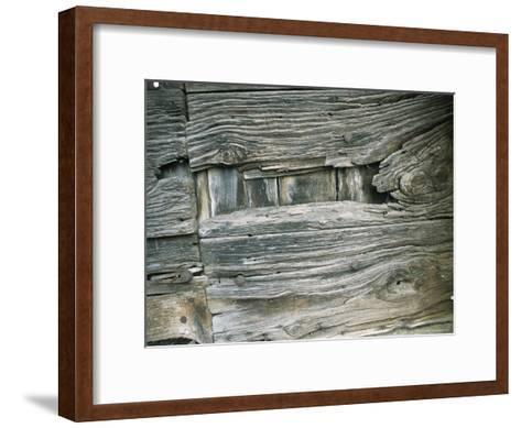 Close View of Wood Barn Siding Nailed To a Wall-Todd Gipstein-Framed Art Print
