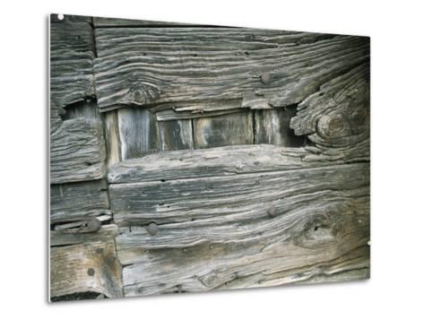 Close View of Wood Barn Siding Nailed To a Wall-Todd Gipstein-Metal Print