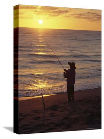 Fishing at Sunrise-Raymond Gehman-Stretched Canvas Print