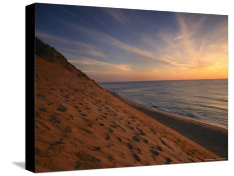 Sunrise Paints the Sky Orange over the Shoreline of Coastguard Beach-Michael Melford-Stretched Canvas Print