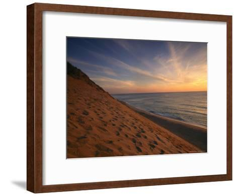 Sunrise Paints the Sky Orange over the Shoreline of Coastguard Beach-Michael Melford-Framed Art Print