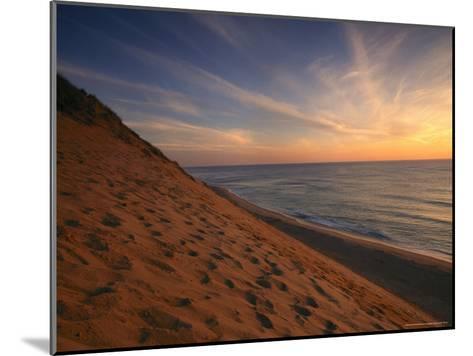 Sunrise Paints the Sky Orange over the Shoreline of Coastguard Beach-Michael Melford-Mounted Photographic Print