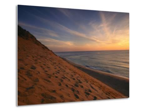 Sunrise Paints the Sky Orange over the Shoreline of Coastguard Beach-Michael Melford-Metal Print