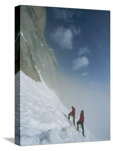 Climbers at Base of Great Sail Peak, Above Fog in Stewart Valley-Gordon Wiltsie-Stretched Canvas Print