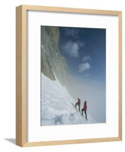 Climbers at Base of Great Sail Peak, Above Fog in Stewart Valley-Gordon Wiltsie-Framed Art Print