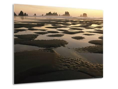 Low Tide on a Beach with Sea Stacks in Olympic National Park-Melissa Farlow-Metal Print