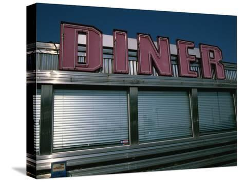 Classic Diner Sign To Pull in Hungry Patrons-Stephen St^ John-Stretched Canvas Print