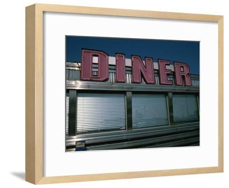 Classic Diner Sign To Pull in Hungry Patrons-Stephen St^ John-Framed Art Print