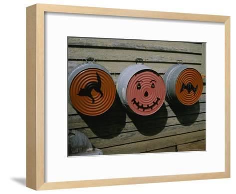 Painted Washtubs on the Side of a Rural House Celebrate Halloween-Stephen St^ John-Framed Art Print