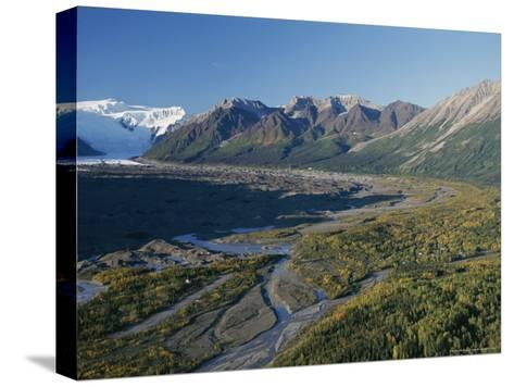 Scenic View of Kennicott Glacier and the Town of Mccarthy-George Herben-Stretched Canvas Print