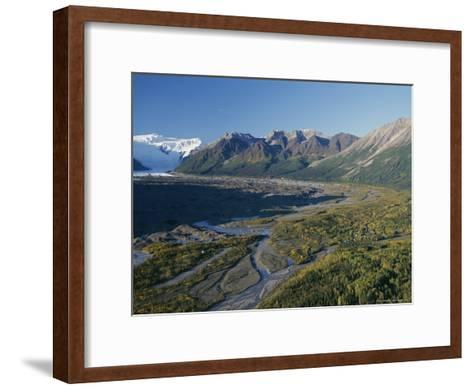 Scenic View of Kennicott Glacier and the Town of Mccarthy-George Herben-Framed Art Print