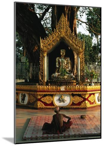 Buddhist Monk Meditating Near Altar with Buddha Statue and Gilt-Steve Winter-Mounted Photographic Print