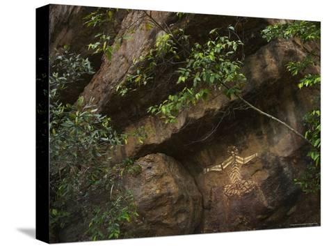 Australian Aboriginal Rock Art on a Rock in Kakadu National Park-Randy Olson-Stretched Canvas Print