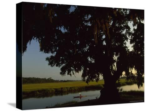 Late Afternoon Kayaker in the Marshes Along the Georgia Sea Islands-Michael Melford-Stretched Canvas Print