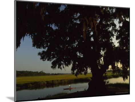 Late Afternoon Kayaker in the Marshes Along the Georgia Sea Islands-Michael Melford-Mounted Photographic Print
