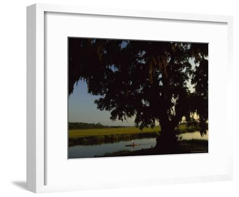 Late Afternoon Kayaker in the Marshes Along the Georgia Sea Islands-Michael Melford-Framed Art Print