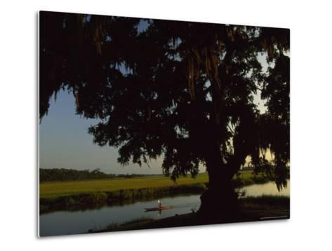 Late Afternoon Kayaker in the Marshes Along the Georgia Sea Islands-Michael Melford-Metal Print