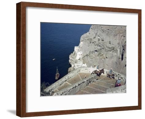 Donkeys Carry Visitors From the Ocean To the Hilltop Town of Thera-Maynard Owen Williams-Framed Art Print
