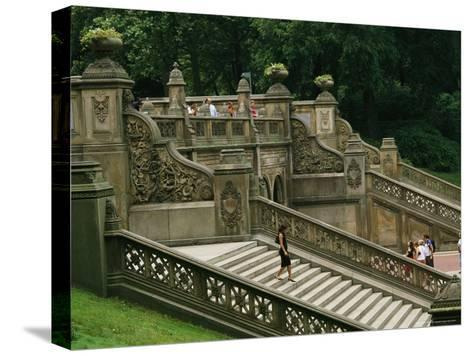 Bethesda Terrace Steps in Central Park-Melissa Farlow-Stretched Canvas Print