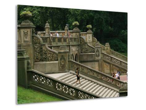 Bethesda Terrace Steps in Central Park-Melissa Farlow-Metal Print