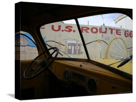 Meteor City's Fence Map of Old Route 66 Framed by a Truck Windshield-Stephen St^ John-Stretched Canvas Print
