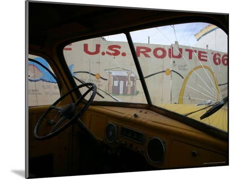 Meteor City's Fence Map of Old Route 66 Framed by a Truck Windshield-Stephen St^ John-Mounted Photographic Print